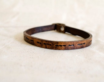 i Love You Morse Code Custom Skinny Adjustable Leather Bracelet Soul Mates Secret Message