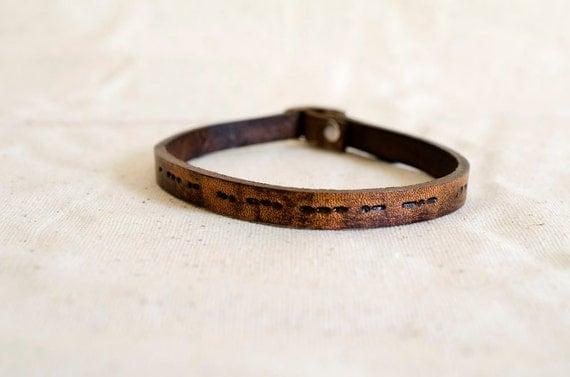 i Love You Morse Code Custom Skinny Adjustable Leather Bracelet Soul Mates Secret Message