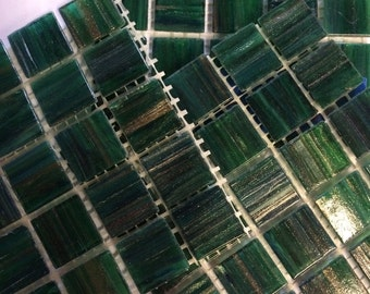 GA28080 Dark Green Goldvein Glass Mosaic Tiles -25pc//Discount Mosaic Supplies//Mosaic
