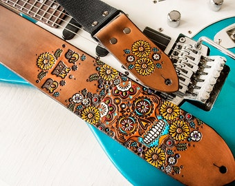 Custom Leather Guitar Strap - Sunflowers and Sugar Skull Wildflowers Floral Design - Mexicali, Day of the Dead, Flower - Hand Painted