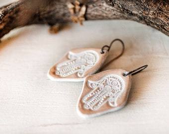 Hamsa Leather Earrings - Oxidized Copper wires - Simple Rustic Protection Evil Eye jewelry - Handmade