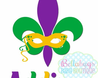 Fleur de Lis Personalized Mardi Gras Iron-On Transfer - Mardi Gras - Tshirt - Mask