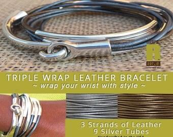 Bronze & Gray, Wrap Bracelet, Leather Wrap Bracelet, Beaded Bracelet, Leather Jewelry, Friendship, Triple Wrap, Boho Jewelry, Gift for Her