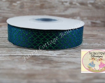 Blue with Green Foil Scales 7/8 inch Ribbon