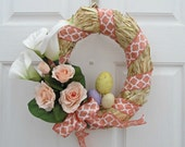 Straw Easter Wreath with Peach and White Ribbon, Calla Lilies, Pink Roses and Speckled Eggs - Spring Home Decor