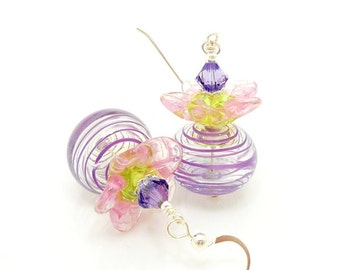 Purple Earrings, Flower Earrings, Lampwork Earrings, Glass Earrings, Blown Glass Earrings, Glass Bead Earrings, Hollow Glass Earrings