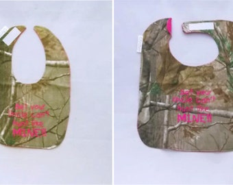 Bet your Papa can't hunt like MINE - Small OR Large - Girls Baby Bib - Hot Pink - Free Shipping