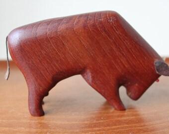Reduced: Vintage Teak Bull, Animal Figurine, Leather, Style of Kay Bojesen, Hans Bolling, Danish Modern