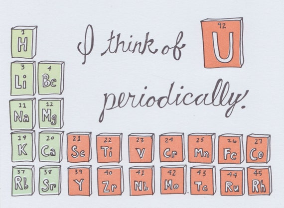 Periodic Table Greeting Card Science Valentine