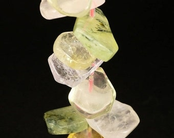 ON SALE Rose Quartz Nuggets Smooth Beads Prehnite Amethyst Citrine Rock Crystal Quartz Nuggets - 8-Inch Strand - 23 Nuggets about 22 x 16mm