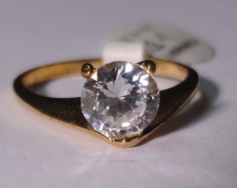 Lindenwold 14k HGE Plated CZ Solitaire Ring Size 7 NOS