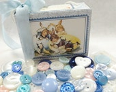 Sweet Treats Paper Easter Candy Box Filled With Pastel Vintage Plastic Sewing Buttons Mix Easter Holidays Colors Fashion Decorations