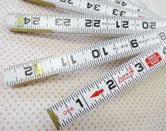 Vintage Lufkin Red Ends Extension Rule Folding Wood Wooden Ruler Measure Brass Metal Hinges Like New Condition Unused