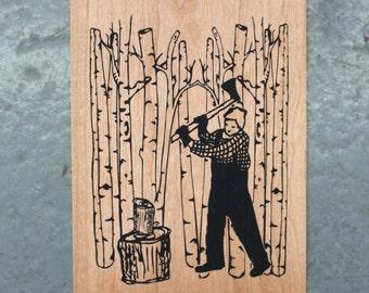 Lumberjack - Screen print on wood veneer // Bûcheron - Sérigraphie sur placage de bois