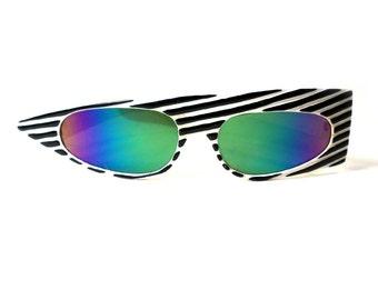 Authentic Vintage 80s New Wave Sunglasses.  Asymmetric Punk Sun Glasses