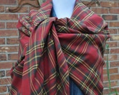 Blanket Scarf Burgundy and Gold Plaid Blanket Scarf Trending 2016 Scarf Style Poncho Garnet and Gold Handmade Fringe Blanket Scarf