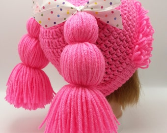 Neon Adult Cabbage Patch Crochet Hat Size Teen to Adult Custom Made