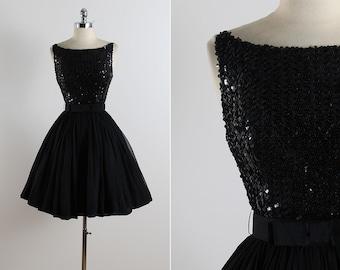 Vintage 50s dress | vintage 1950s dress | black sequin party dress xs | 5771