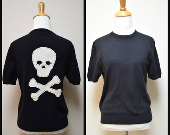 COUNTRY SHOP Black Cashmere Crewneck with Hand Applied Skull & Crossbones Applique M