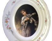 """Portrait of a Girl and her AT-AT  - Altered Vintage Plate 13.5"""""""