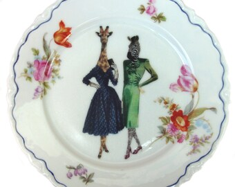 SALE - BFF's Lucinda and Hazel - Altered Vintage Plate 6.25""