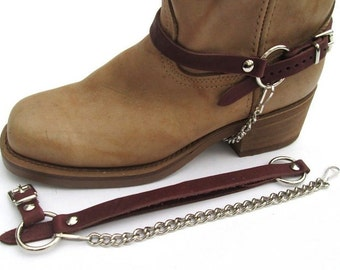 Biker Boot Chains Brown Topgrain Cowhide Leather Harness Straps