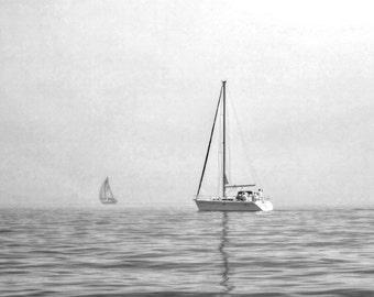 Sailboat photo, Sailboat, Sailboat art, Sailboat photography, Nautical decor, home decor, black and white