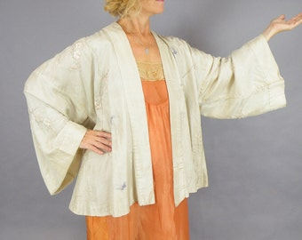1920s Embroidered Silk Jacket, Floral Butterfly Embroidered Flapper Kimono Jacket, 20s Boudoir Coat Dressing Gown Robe