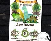 Dinosaur Birthday Party Invitation, Prehistoric Invite, Reptile Party, Bunting Flags, Nature, Printable, DIY, Digital or Printed Invitation