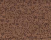 Pumpkin & Spice fabric - Moda - Deb Strain - brown/flowers/vines - Autumn/Fall - OOP HTF