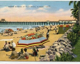 Beach Scene Palm Beach Florida linen postcard