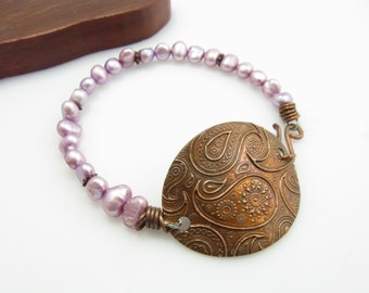 Lavender Purple Freshwater Pearl and Copper Paisley Bracelet Handmade Artisan Copper Jewelry Copper Paisley Cufflet Bracelet