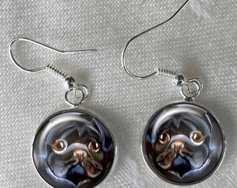 Black Pug Drop Earrings ~ Pug Lover Gift ~ Girlfriend Gift ~ March Birthday ~ Pet Keepsake ~ Dog Miniature