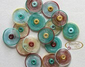 Lampwork Glass Disc Beads, FREE SHIPPING, Handmade Cream, Teal, Red, Turqioise Artisan Glass Disc Beads - Rachelcartglass