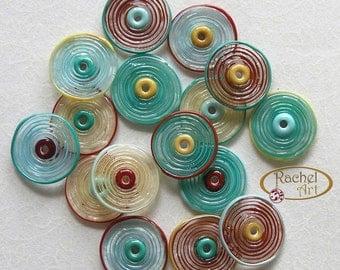 Lampwork Glass Disc Beads, FREE SHIPPING, Handmade Cream, Teal, Red, Turqioise Artisan Glass Disc Beads - Rachelcartglass