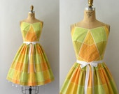 RESERVED LISTING -- 1950s Vintage Dress - 50s Yellow Check Polkadot Sundress