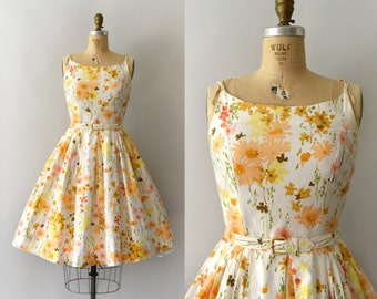 1950s Vintage Dress - 50s Autumnal Floral Cotton Sundress