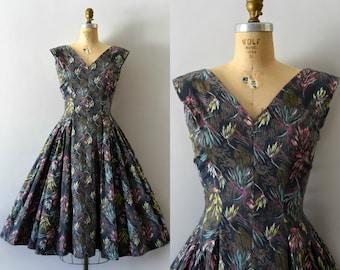 Vintage 1950s Dress - 50s Grey Floral Cotton Dress