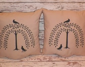 "UNSTUFFED Primitive 2 Pillow Cover SET Sofa Willow Tree Crow Country Barn Star Home Decoration 14 1/2"" Cushions Throw Toss Lot wvluckygirl"
