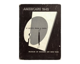 "E. McKnight Kauffer book cover design, 1942. ""Americans 1942: 18 Artists from 9 States"" Museum of Modern Art, New York. Dorothy C Miller"
