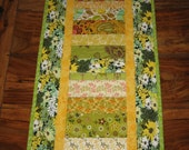 Table Runner Quilted Summer Green Yellow Orange Daisies Flowers Table Decor Handmade