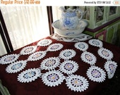 Wagon Wheel Crochet Doilies in White - Multi Colored Centers 11692