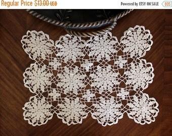 Crochet Doily, Crocheted Placemat, Light Ecru, Vintage Linens,  Hand Crocheted - 13149
