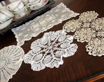 4 Assorted Crochet Doilies, Vintage Knit Doily, Light Ecru / Off White Lot 13109