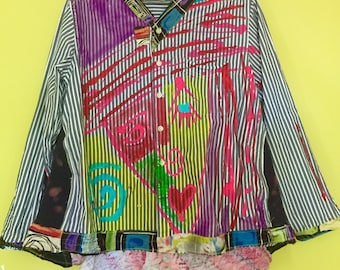 Hand painted upcycled cotton shirt jacket w abstract face fits L XL