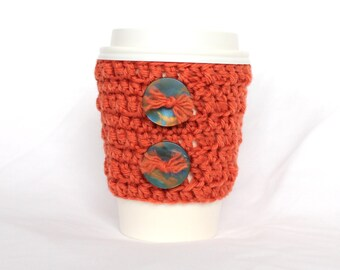 Button travel mug cup cozy coffee crochet rusty orange