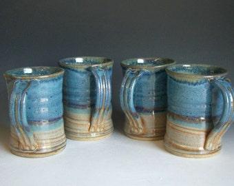 Hand thrown stoneware pottery mugs set of 4  (M-40)
