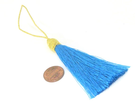 1 Piece  - Long blue color silky tassel charm with golden cord twine - tassle fringe craft supply - TS004