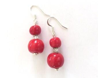 Kazuri Earrings, Red Kazuri Earrings