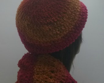 Retro Beret and Infinity Scarf Orange and Gold Crochet Gift For Women Under 70 dollars